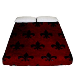 Royal1 Black Marble & Red Grunge (r) Fitted Sheet (queen Size)