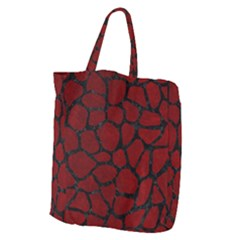 Skin1 Black Marble & Red Grunge (r) Giant Grocery Zipper Tote
