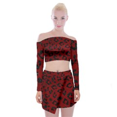 Skin5 Black Marble & Red Grunge (r) Off Shoulder Top With Mini Skirt Set