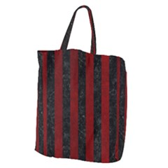 Stripes1 Black Marble & Red Grunge Giant Grocery Zipper Tote