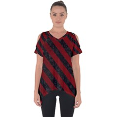 Stripes3 Black Marble & Red Grunge Cut Out Side Drop Tee