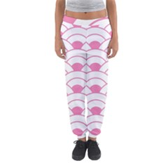 Art Deco Shell Pink White Women s Jogger Sweatpants