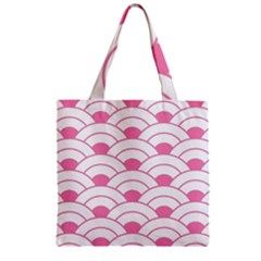 Art Deco Shell Pink White Zipper Grocery Tote Bag