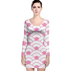 Art Deco Shell Pink White Long Sleeve Velvet Bodycon Dress