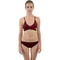 Tile1 Black Marble & Red Grunge Wrap Around Bikini Set