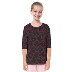 Tile1 Black Marble & Red Grunge (r) Kids  Quarter Sleeve Raglan Tee