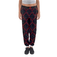 Tile1 Black Marble & Red Grunge (r) Women s Jogger Sweatpants