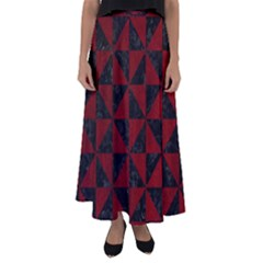 Triangle1 Black Marble & Red Grunge Flared Maxi Skirt
