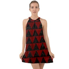 Triangle2 Black Marble & Red Grunge Halter Tie Back Chiffon Dress