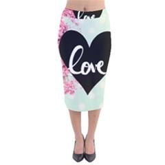 Modern Collage Shabby Chic Velvet Midi Pencil Skirt