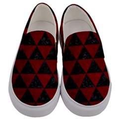 Triangle3 Black Marble & Red Grunge Men s Canvas Slip Ons