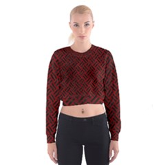 Woven2 Black Marble & Red Grunge Cropped Sweatshirt
