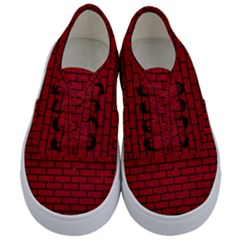 Brick1 Black Marble & Red Leather Kids  Classic Low Top Sneakers