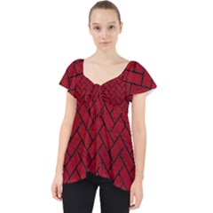 Brick2 Black Marble & Red Leather Lace Front Dolly Top