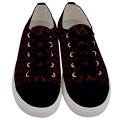 Brick2 Black Marble & Red Leather (r) Men s Low Top Canvas Sneakers