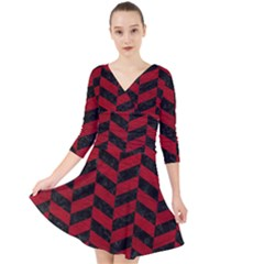 Chevron1 Black Marble & Red Leather Quarter Sleeve Front Wrap Dress