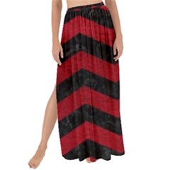 Chevron3 Black Marble & Red Leather Maxi Chiffon Tie Up Sarong