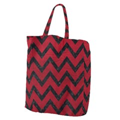 Chevron9 Black Marble & Red Leather Giant Grocery Zipper Tote