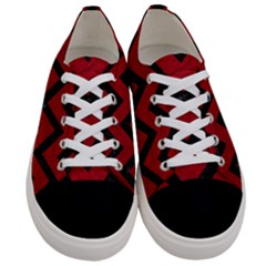 Chevron9 Black Marble & Red Leather Women s Low Top Canvas Sneakers