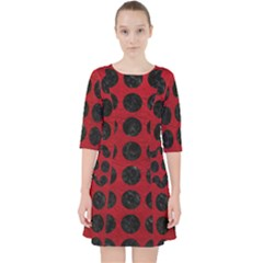 Circles1 Black Marble & Red Leather Pocket Dress