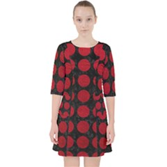 Circles1 Black Marble & Red Leather (r) Pocket Dress