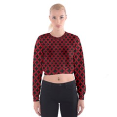 Circles3 Black Marble & Red Leather (r) Cropped Sweatshirt