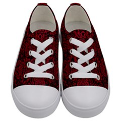 Damask2 Black Marble & Red Leather (r) Kids  Low Top Canvas Sneakers
