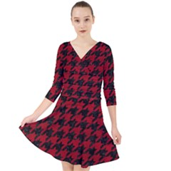 Houndstooth1 Black Marble & Red Leather Quarter Sleeve Front Wrap Dress