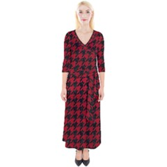 Houndstooth1 Black Marble & Red Leather Quarter Sleeve Wrap Maxi Dress