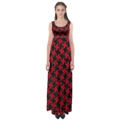 Houndstooth2 Black Marble & Red Leather Empire Waist Maxi Dress