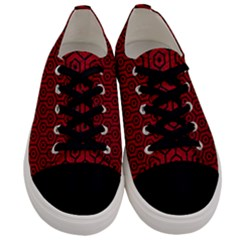 Hexagon1 Black Marble & Red Leather Men s Low Top Canvas Sneakers
