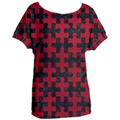 Puzzle1 Black Marble & Red Leather Women s Oversized Tee