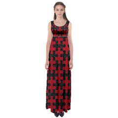 Puzzle1 Black Marble & Red Leather Empire Waist Maxi Dress