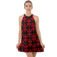Puzzle1 Black Marble & Red Leather Halter Tie Back Chiffon Dress
