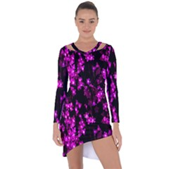 Abstract Background Purple Bright Asymmetric Cut Out Shift Dress