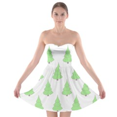 Background Christmas Christmas Tree Strapless Bra Top Dress
