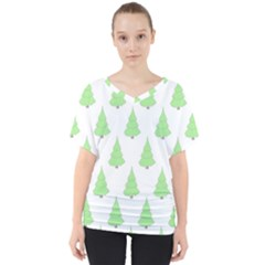 Background Christmas Christmas Tree V Neck Dolman Drape Top