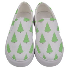 Background Christmas Christmas Tree Men s Canvas Slip Ons
