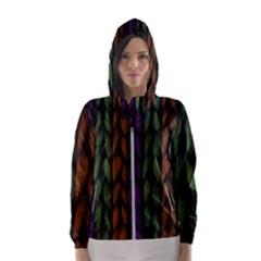 Background Weave Plait Purple Hooded Wind Breaker (women)