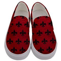 Royal1 Black Marble & Red Leather (r) Men s Canvas Slip Ons