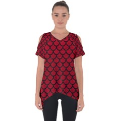Scales1 Black Marble & Red Leather Cut Out Side Drop Tee