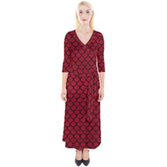 Scales1 Black Marble & Red Leather Quarter Sleeve Wrap Maxi Dress