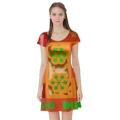 Christmas Design Seamless Pattern Short Sleeve Skater Dress