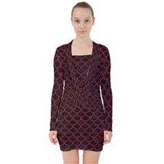 Scales1 Black Marble & Red Leather (r) V Neck Bodycon Long Sleeve Dress