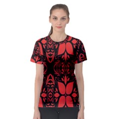 Christmas Red And Black Background Women s Sport Mesh Tee