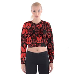 Christmas Red And Black Background Cropped Sweatshirt