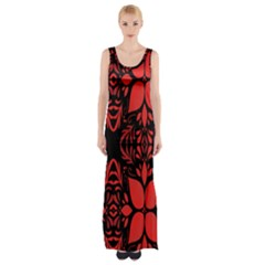 Christmas Red And Black Background Maxi Thigh Split Dress