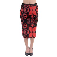 Christmas Red And Black Background Midi Pencil Skirt