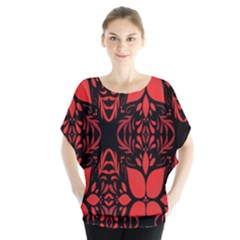 Christmas Red And Black Background Blouse
