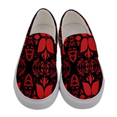 Christmas Red And Black Background Women s Canvas Slip Ons